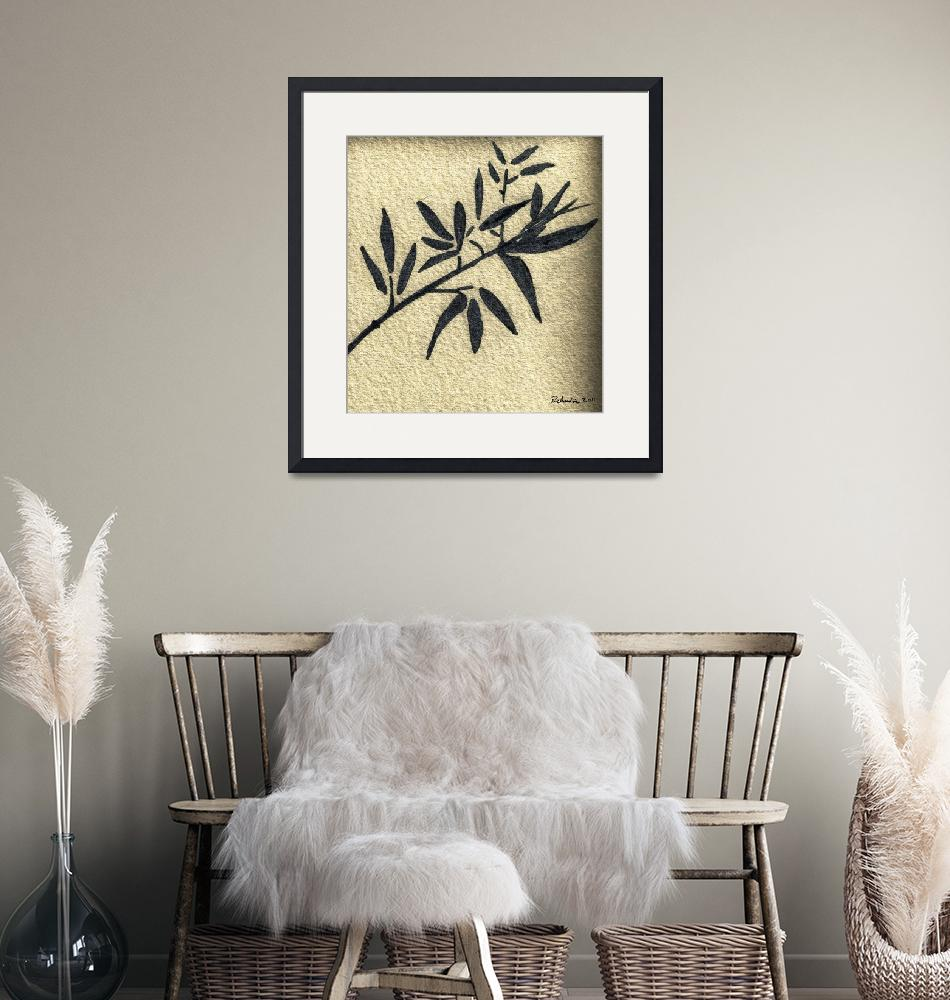 """""""Zen Sumi Antique Botanical 4a Black Ink on Waterco""""  (2011) by Ricardos"""