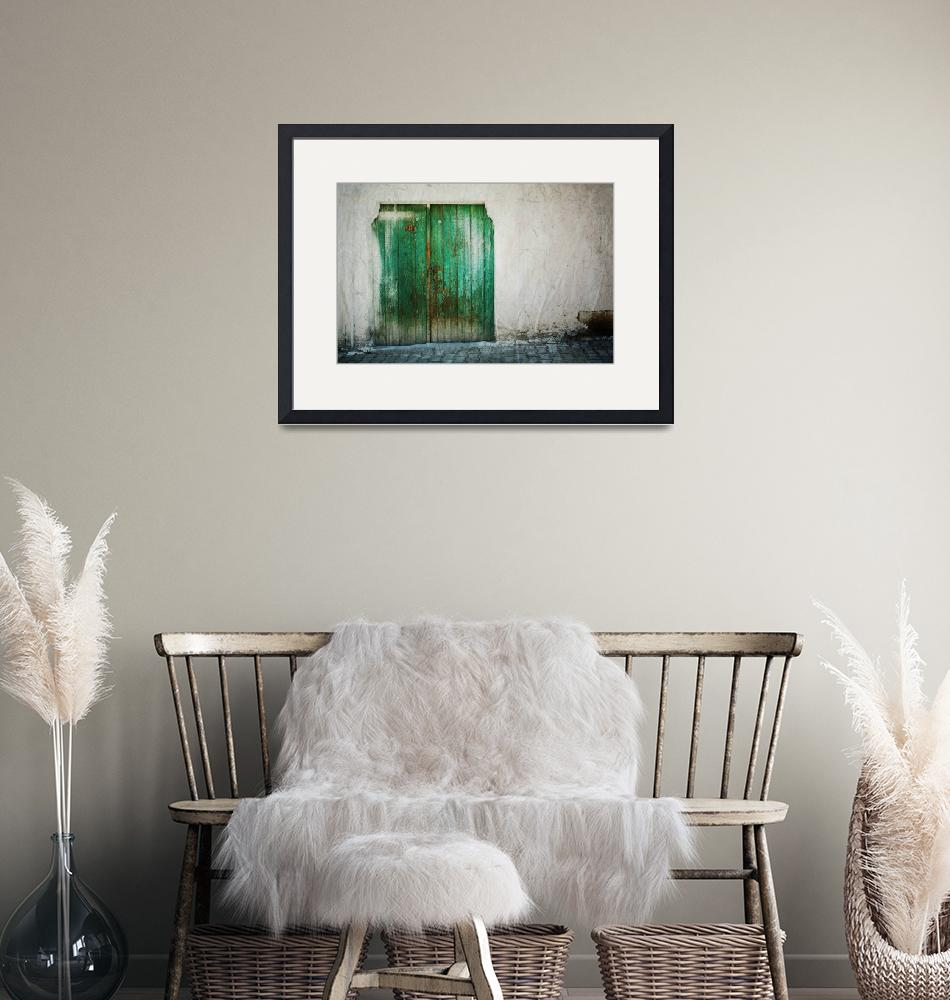 """""""Green Door on White""""  (2008) by joshuaphotography"""