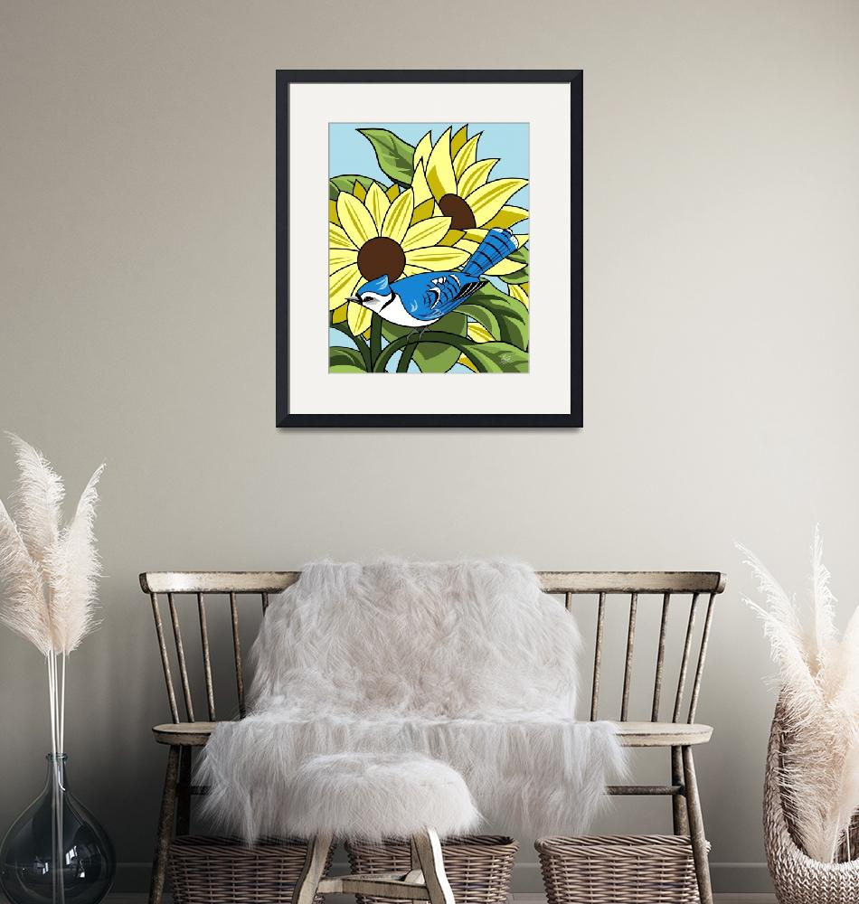 """Sunflowers and BlueJay""  by waterart"