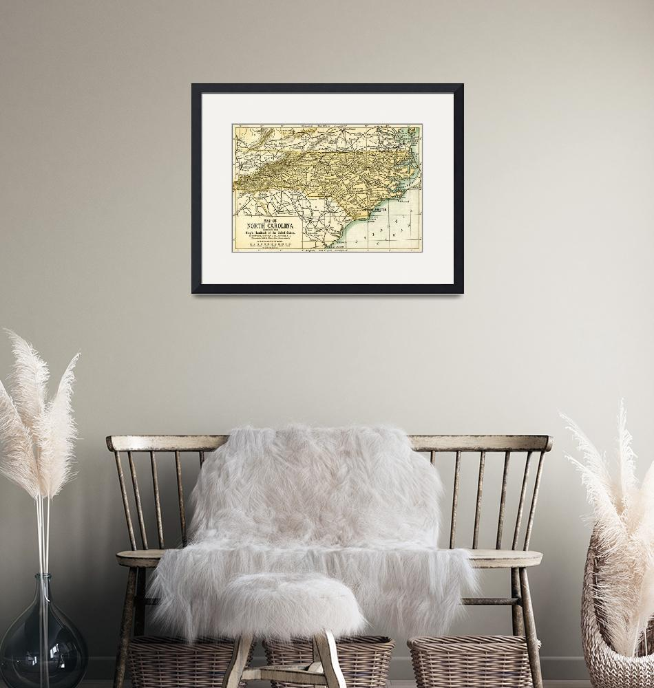 """""""North Carolina Antique Map 1891""""  (2016) by WilshireImages"""