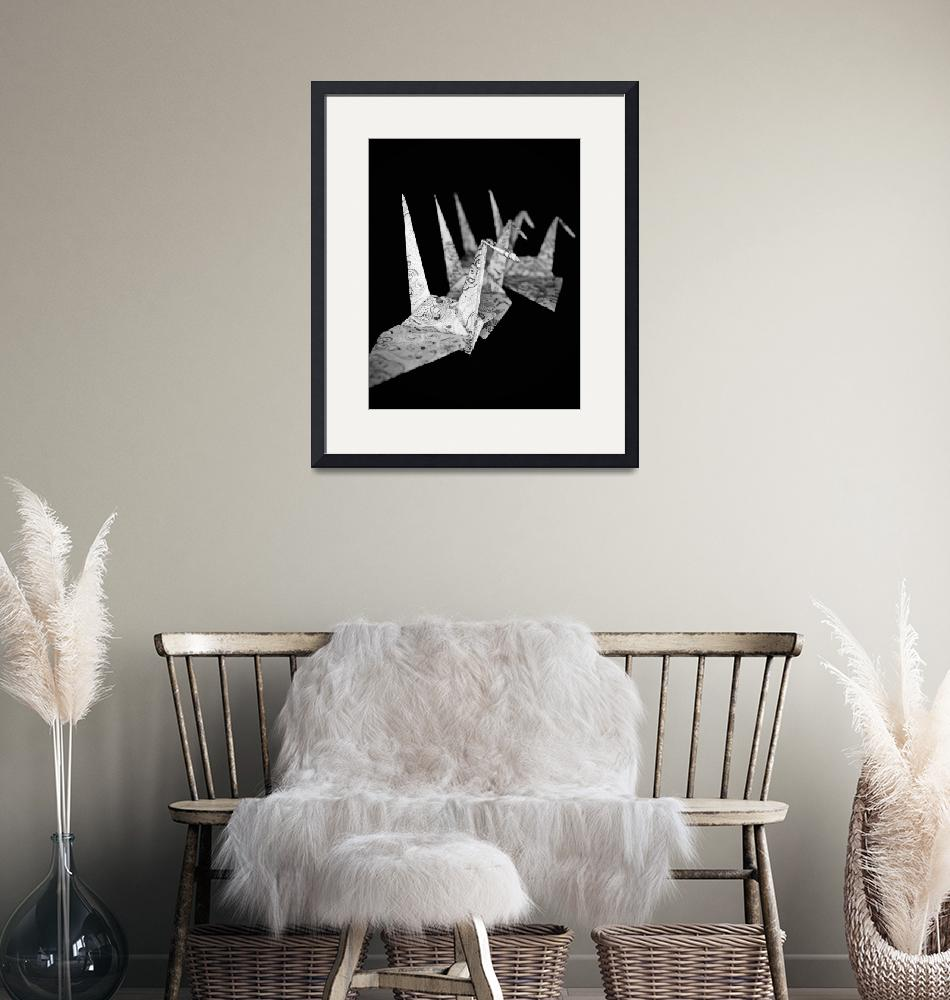 """""""Cranes black and white""""  (2012) by thewaltonsare"""