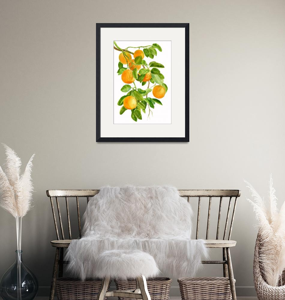 """""""Oranges on a Branch""""  (2016) by Pacific-NW-Watercolors"""