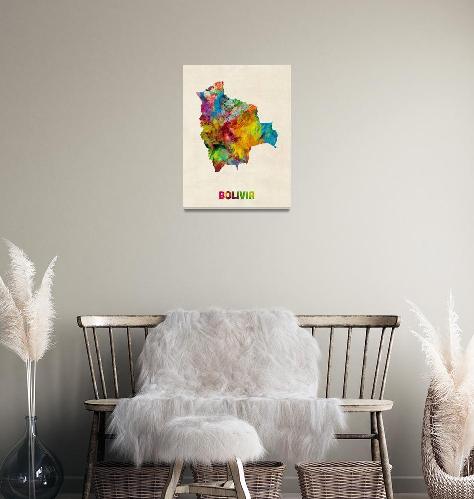 """Bolivia Watercolor Map""  (2014) by ModernArtPrints"