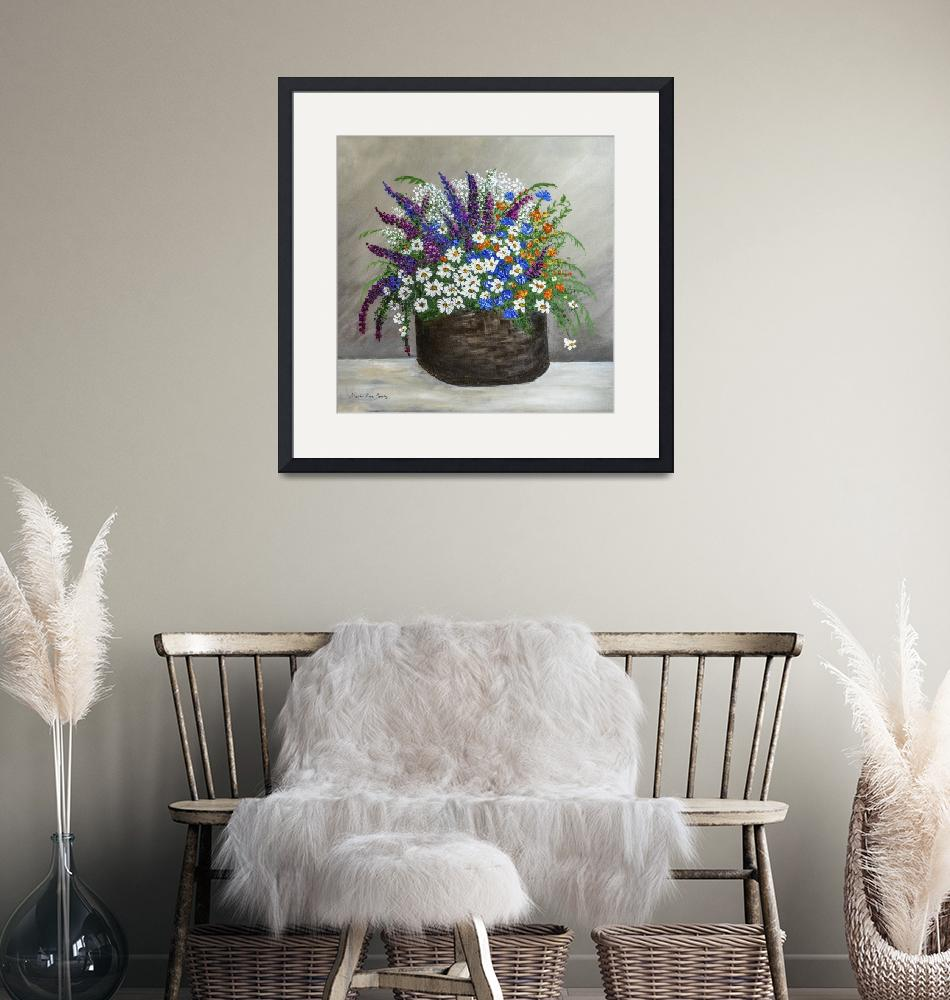 """""""Wildflower Basket Acrylic Painting A61318""""  (2018) by MasArtStudio"""