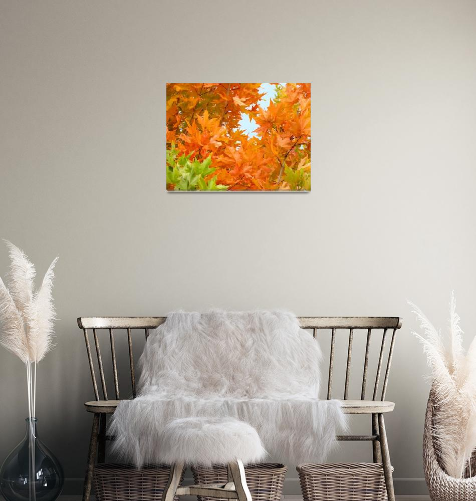 """Orange Green Autumn Leaves Art Prints Nature""  (2014) by BasleeTroutman"