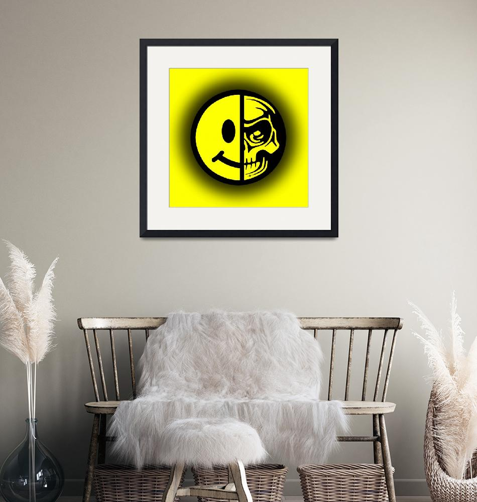 """""""Smiley Face Skull Yellow Shadow""""  (2015) by RubinoFineArt"""