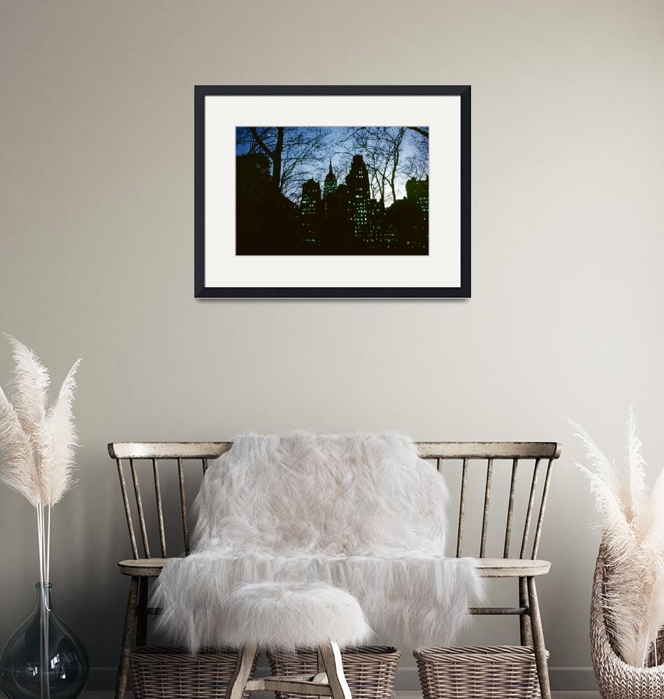 """""""Night Lights NYC Empire State 003 D Hohmann Print""""  by WestwoodPrints"""