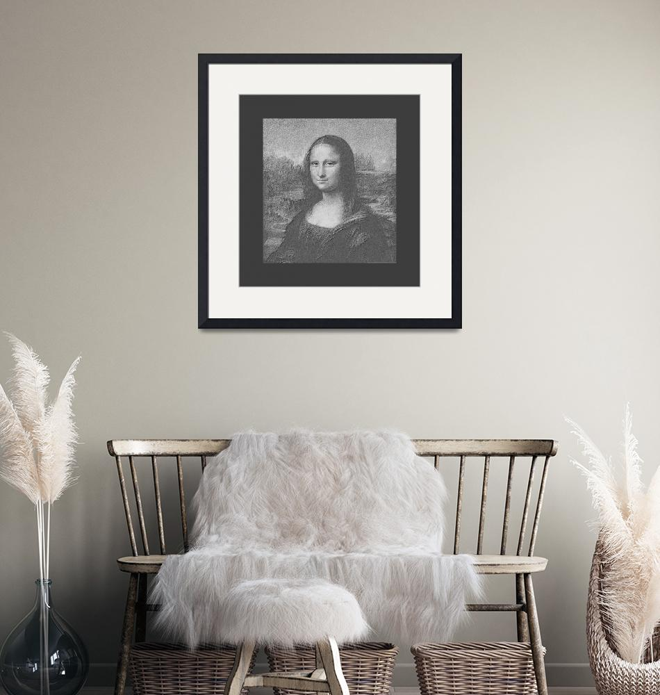 """""""Mona Lisa cropped, B&W very large border""""  (2013) by TheNorthernTerritory"""