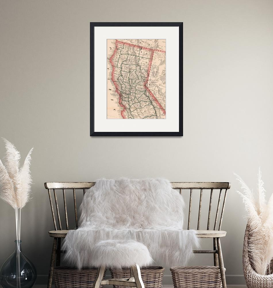 """""""Vintage Map of Northern California (1883)""""  by Alleycatshirts"""