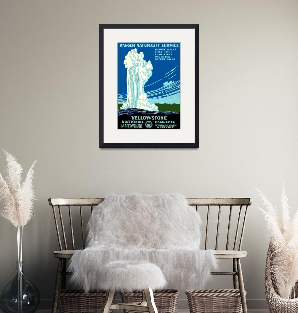 """""""Vintage Yellowstone National Park Geyser WPA""""  by PDGraphics"""