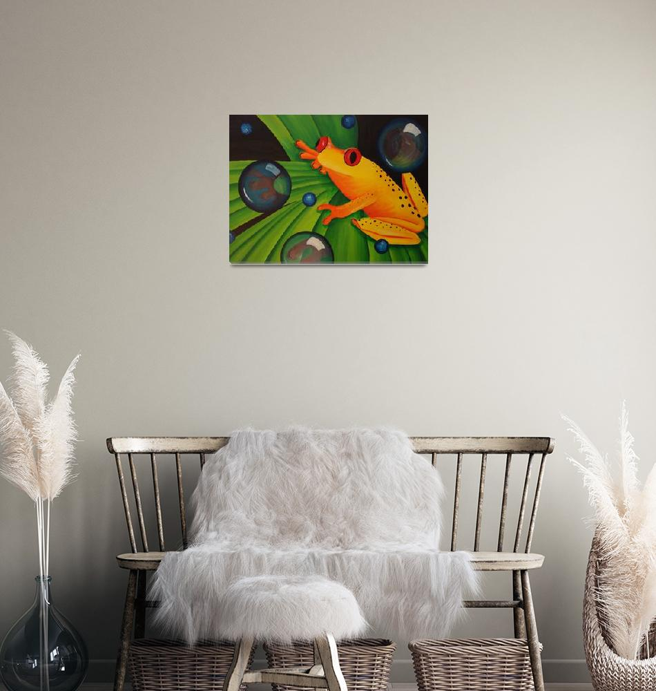 """Yellow Tree Frog on Green Leaf""  (2007) by mmm"