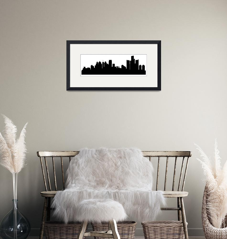 """Detroit Cityscape Skyline""  (2015) by KWGart"