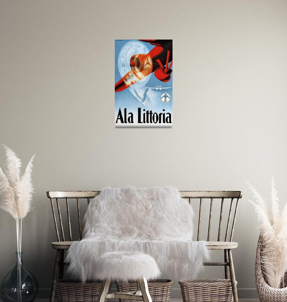 """""""Ala Littoria Vintage Airline Travel Poster""""  by FineArtClassics"""