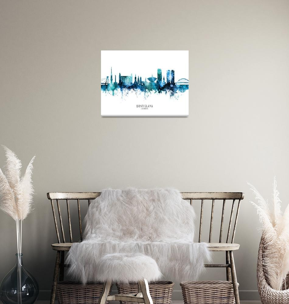 """""""Bratislava Slovakia Skyline""""  (2020) by ModernArtPrints"""