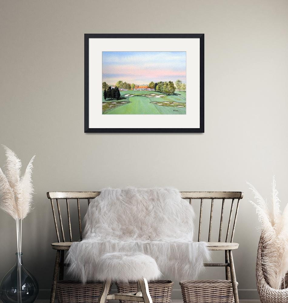 """Bethpage Golf Course 18th Hole Painting""  (2015) by billholkham"