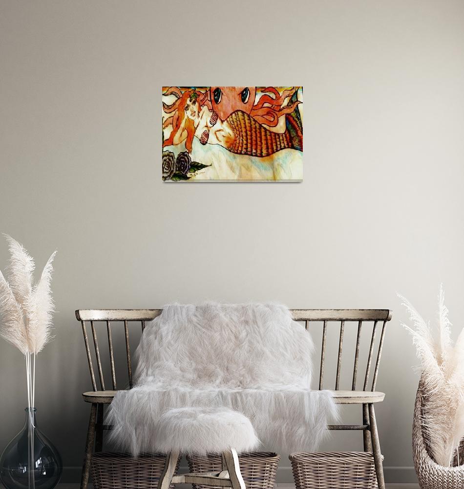 """Mermaid resizeable Canvas""  (2011) by DivulgeArtsbyDianatx"