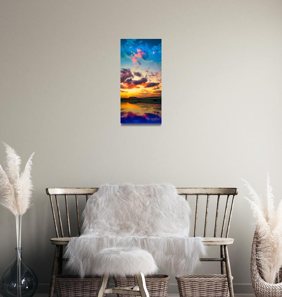 """Sunset Reflection Lake-Red Purple Sunset Panorama""  (2014) by eszra"