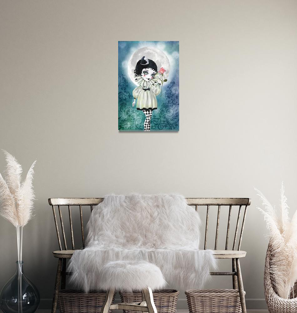 """Pierrette Under the Icy Moon""  (2011) by sandygrafik_arts"