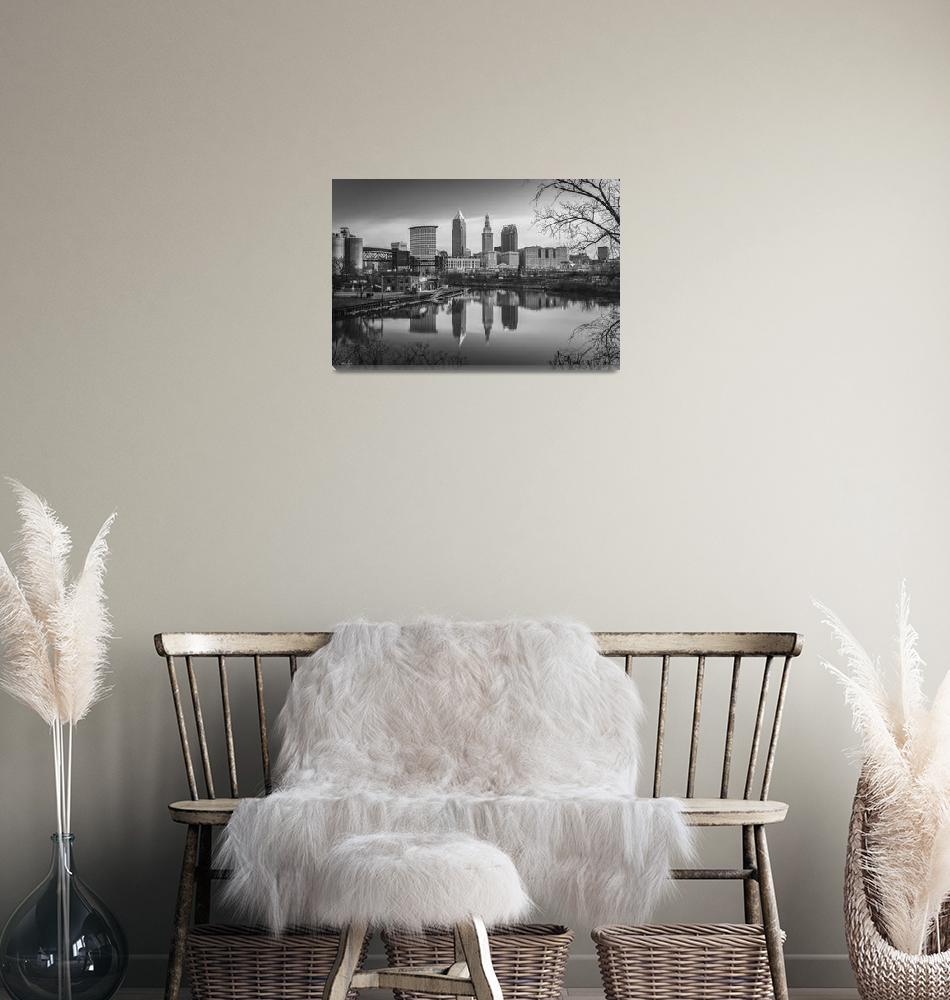 """""""Cleveland Skyline Reflection B&W by Cody York_2873""""  by cyorkphoto"""