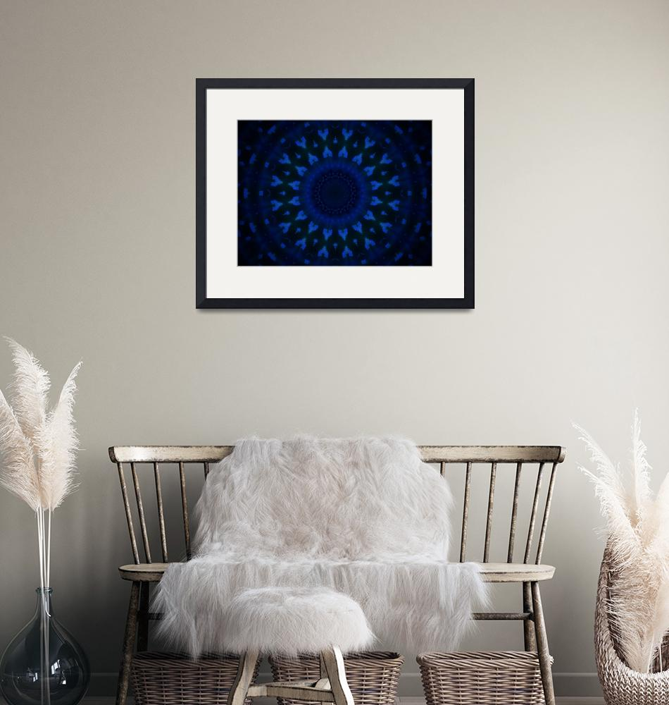"""""""Geometric abstract blue pattern on black backgroun""""  (2014) by jntvisual"""