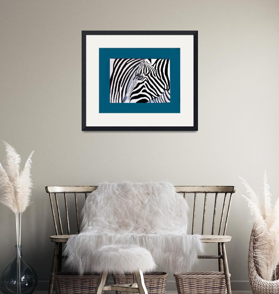 """Zebra abstract on blue""  (2011) by Spangles44"