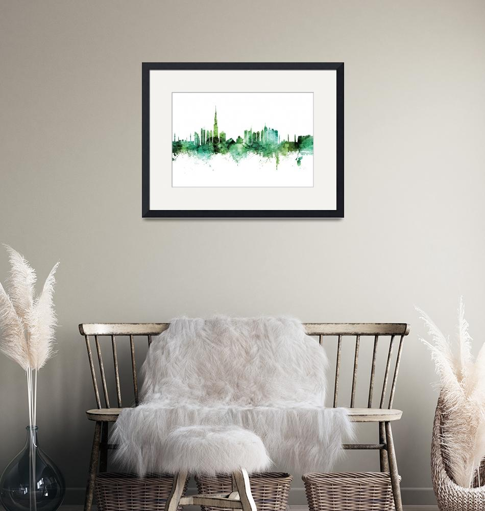 """Dubai Skyline""  (2020) by ModernArtPrints"