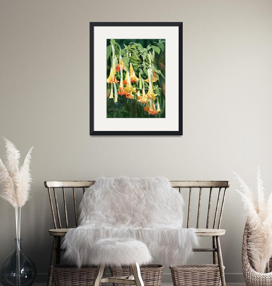 """""""angels trumpet tropical flowers""""  (2019) by Pacific-NW-Watercolors"""