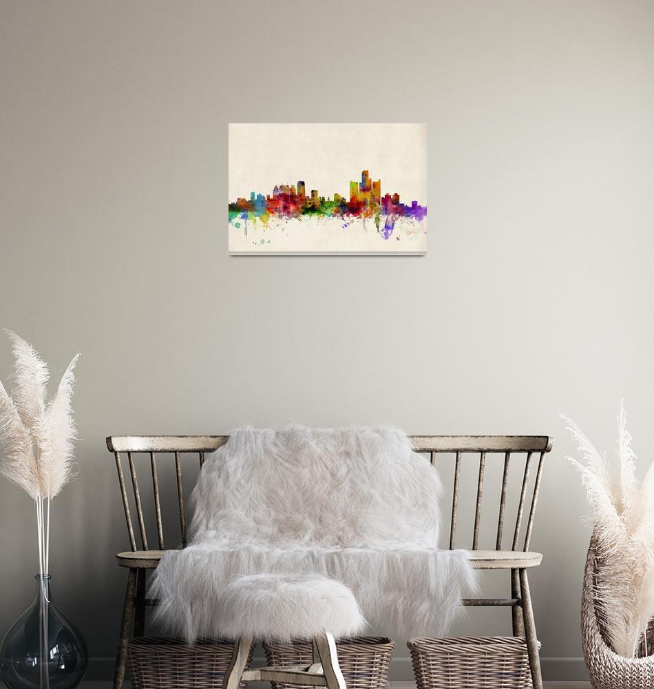 """""""Detroit Michigan Skyline""""  (2013) by ModernArtPrints"""