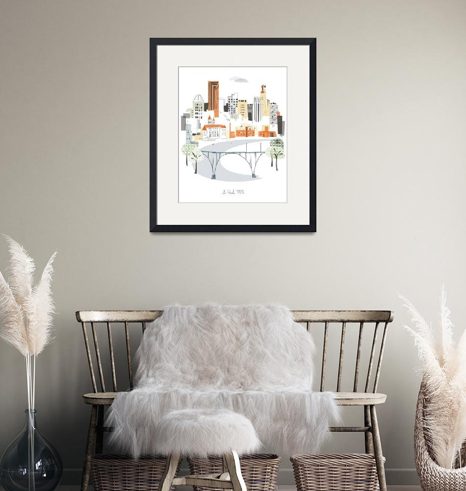 """""""St Paul Modern Cityscape Illustration""""  by AlbieDesigns"""