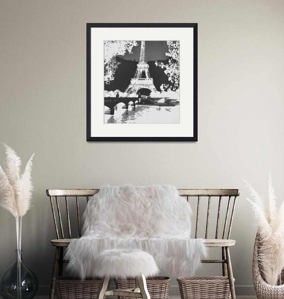 """Eiffel Tower Seine River Enhanced B&W negative cro""  (2013) by TheNorthernTerritory"