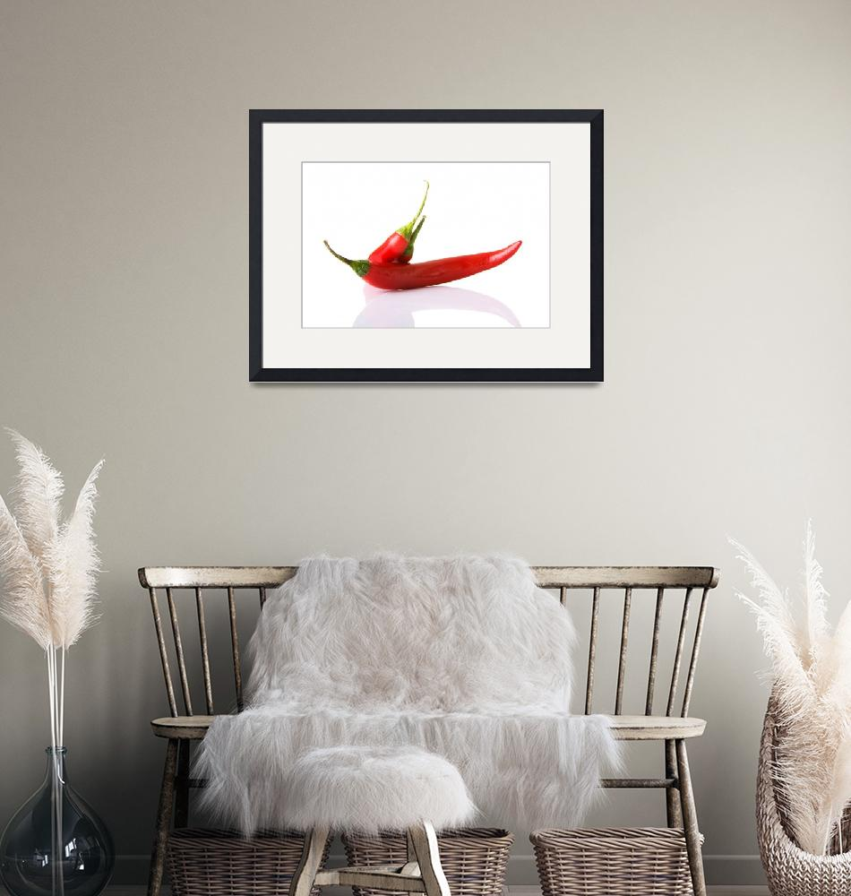 """Red hot chilie peppers, isolated on white""  by Piotr_Marcinski"