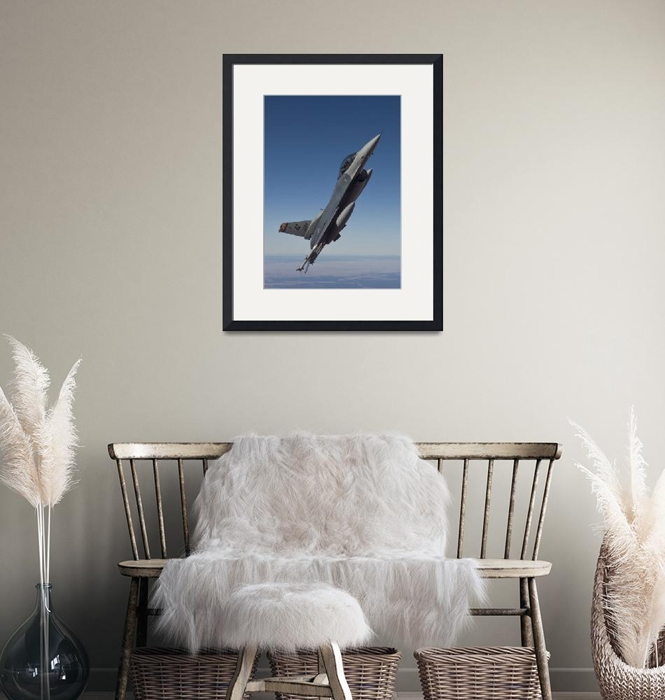 """""""An F-16 Fighting Falcon maneuvers over Arizona""""  by stocktrekimages"""