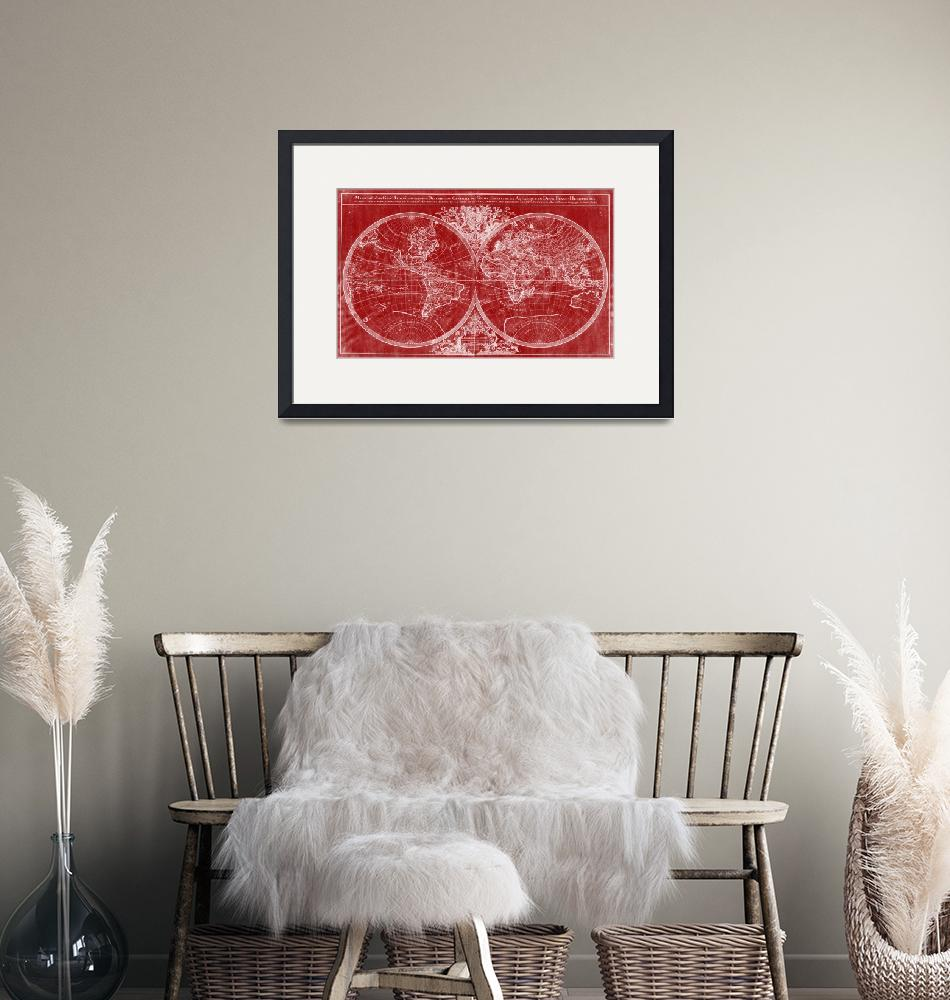 """""""World Map (1691) Red & White"""" by Alleycatshirts"""