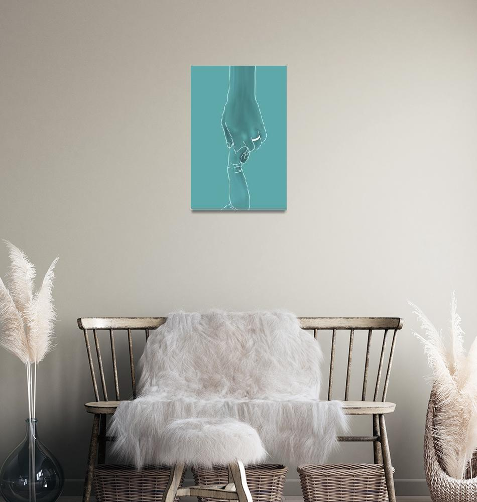 """""""holding hands in turquoise color""""  (2013) by AArtOnWall"""