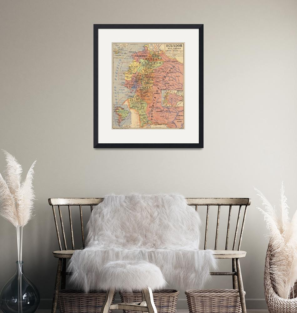 """Vintage Map of Ecuador (1913)""  by Alleycatshirts"