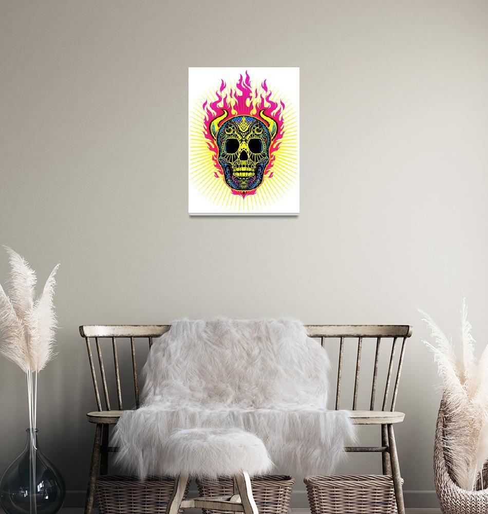 """Flaming Skull White""  (2015) by RubinoFineArt"
