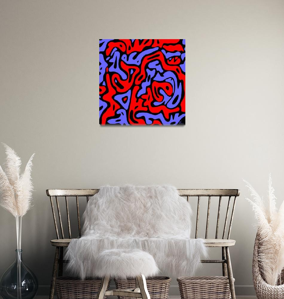 """""""Abstract   Black Blue and Red   Pop Art""""  (2021) by wcsmack"""