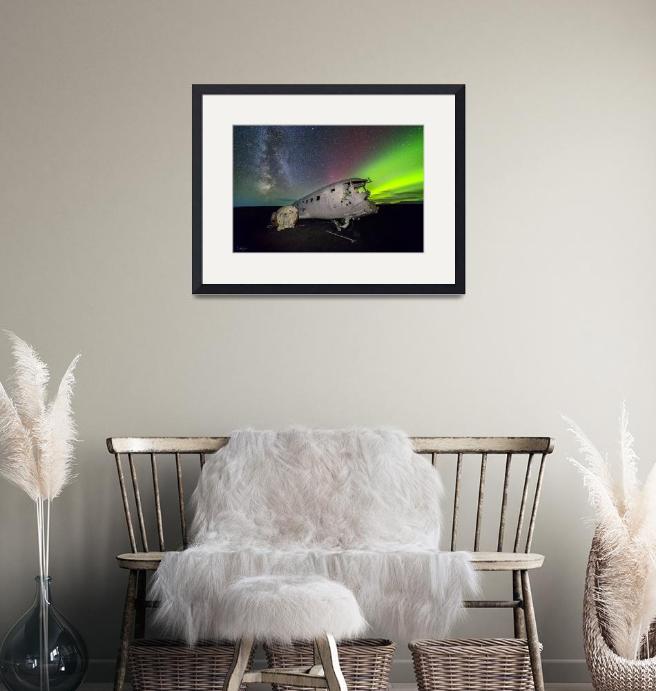 """Iceland Plane Wreck with Aurora by Cody York_115A3""  by cyorkphoto"