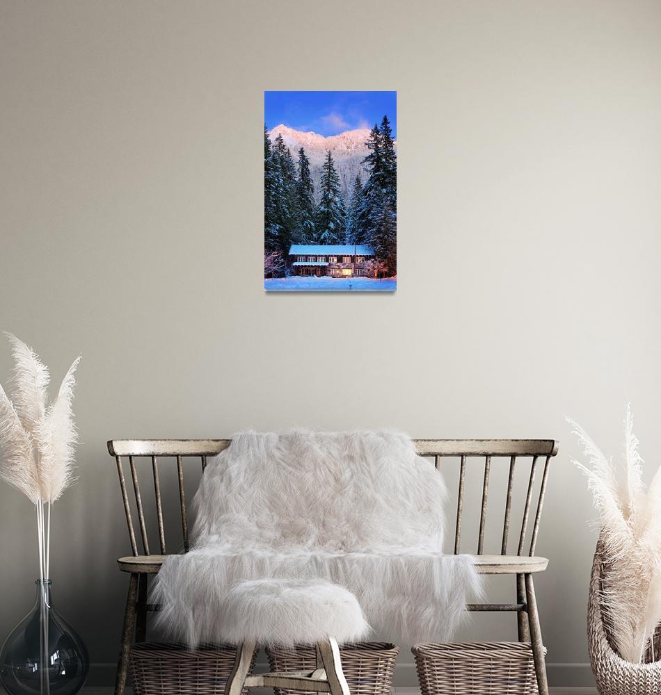 """Mount Rainier winter evening""  (2010) by Inge-Johnsson"