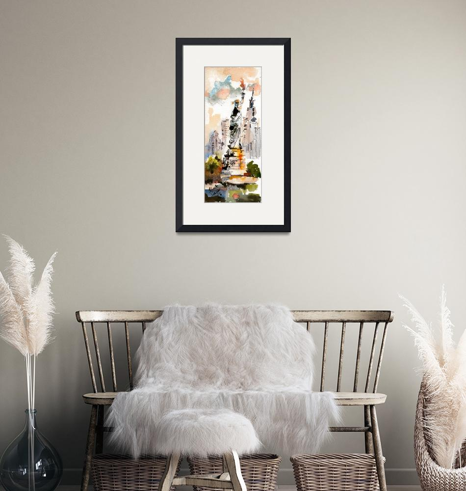 """""""Statue Of Liberty New York Watercolor by Ginette""""  (2006) by GinetteCallaway"""