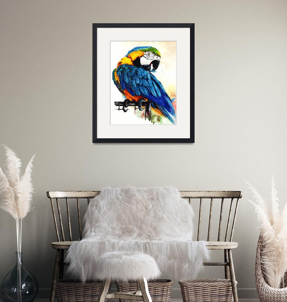 """""""Jinx Blue and Gold Macaw parrot portrait""""  (2019) by MightyFineArt"""