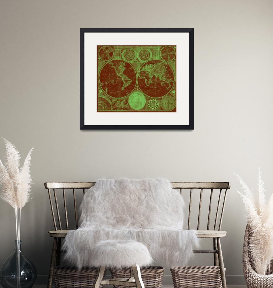 """""""World Map (1794) Red & Light Green"""" by Alleycatshirts"""