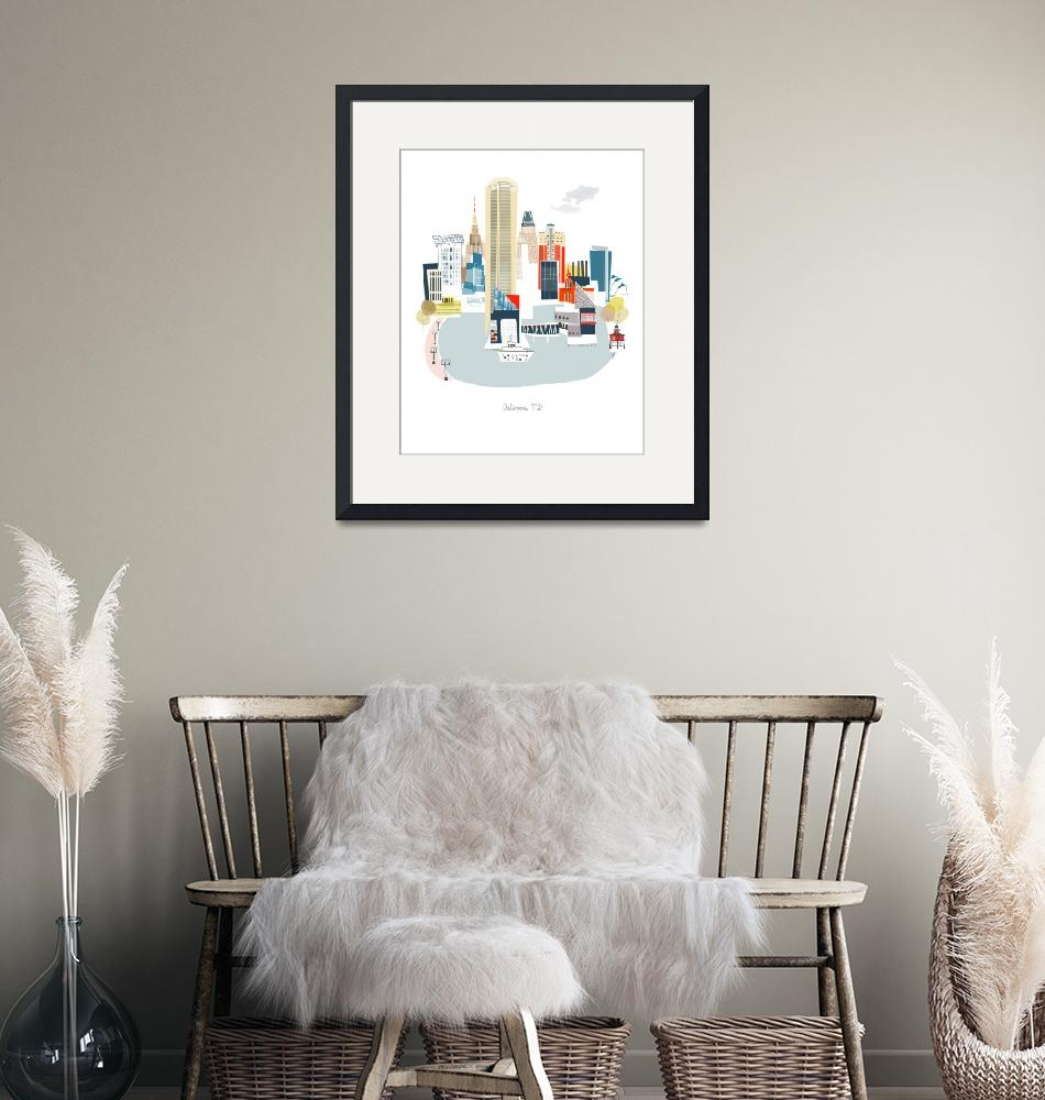 """""""Baltimore Modern Cityscape Illustration""""  by AlbieDesigns"""