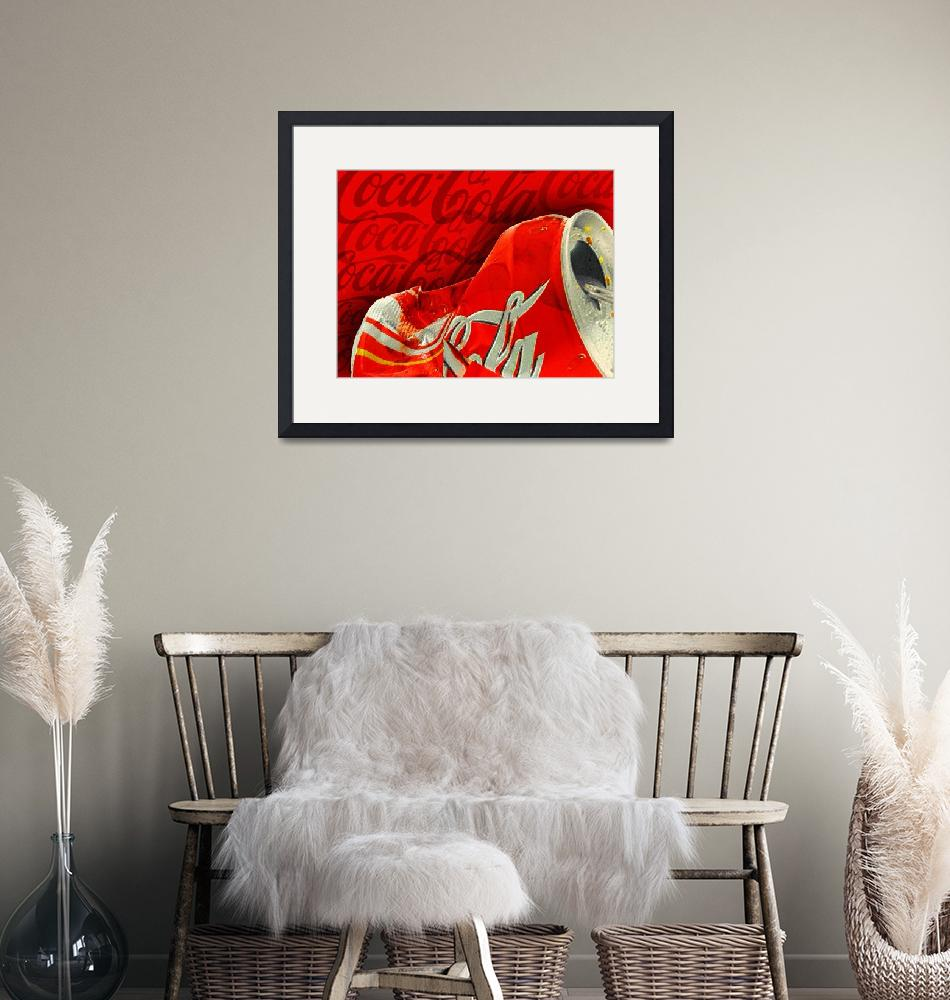 """""""Coca-Cola Can Crush Red Logo Background""""  by RubinoFineArt"""