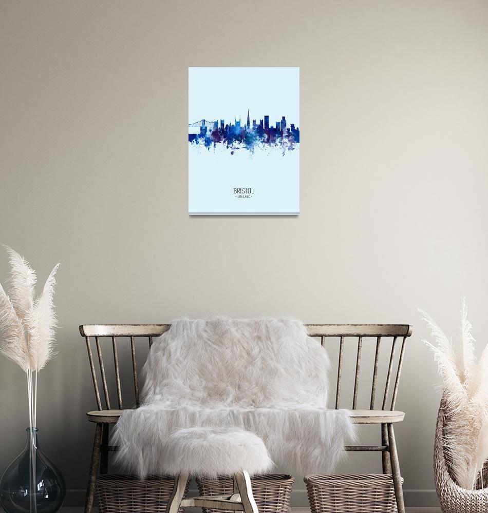 """Bristol England Skyline""  (2019) by ModernArtPrints"