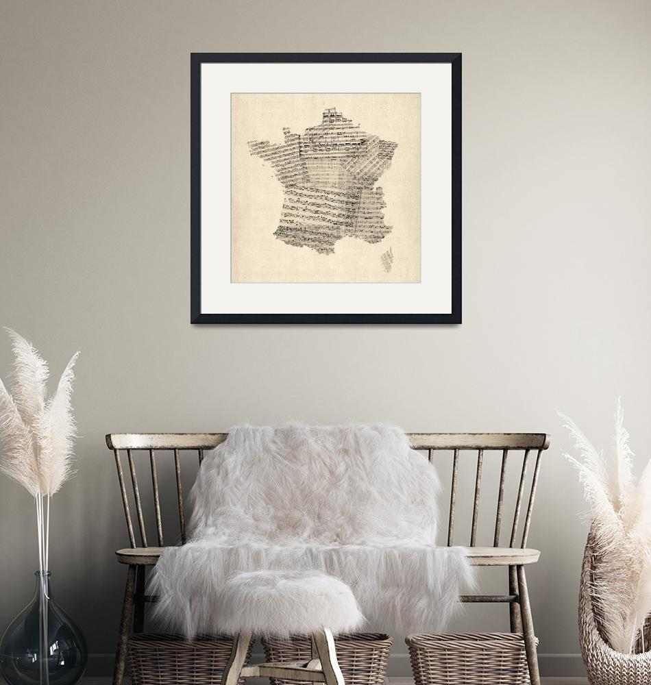 """Map of France Old Sheet Music Map""  (2012) by ModernArtPrints"