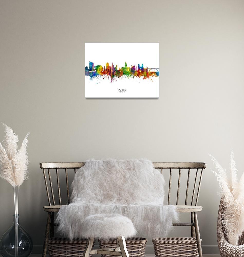 """""""Porto Portugal Skyline""""  (2019) by ModernArtPrints"""