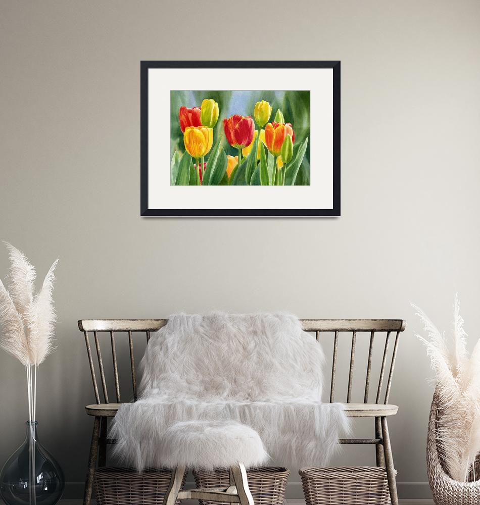 """Orange and Yellow Tulips with Background""  (2013) by Pacific-NW-Watercolors"