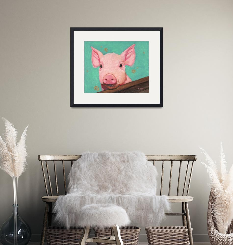 """Original oil painting pink piggy/piglet""  (2020) by yuezeng"