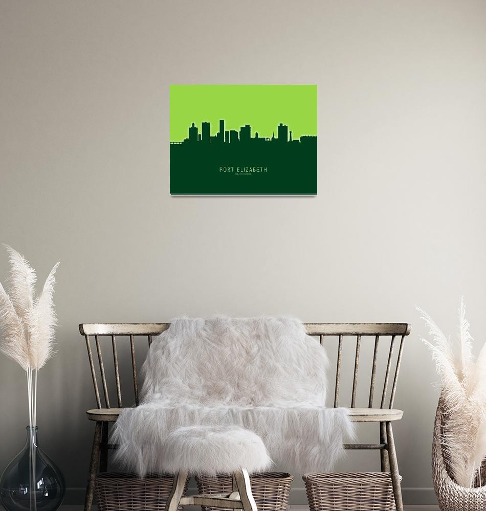"""Port Elizabeth South Africa Skyline""  (2020) by ModernArtPrints"